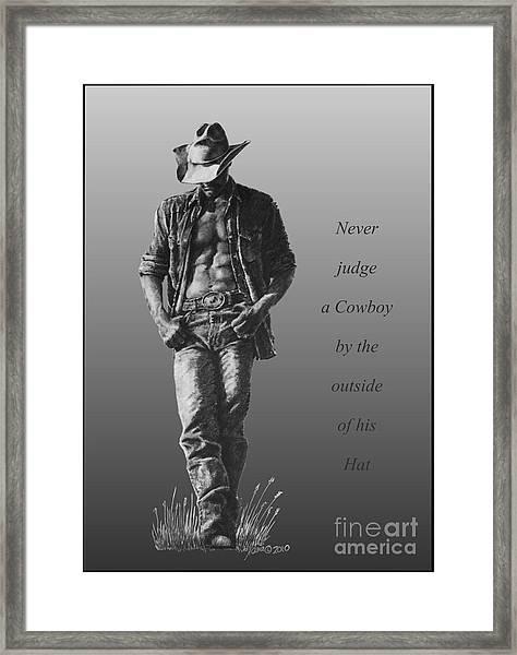 Cowboy Hat Verse Framed Print