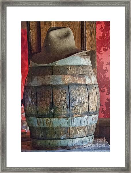 Cowboy Hat On Old Wooden Keg Framed Print