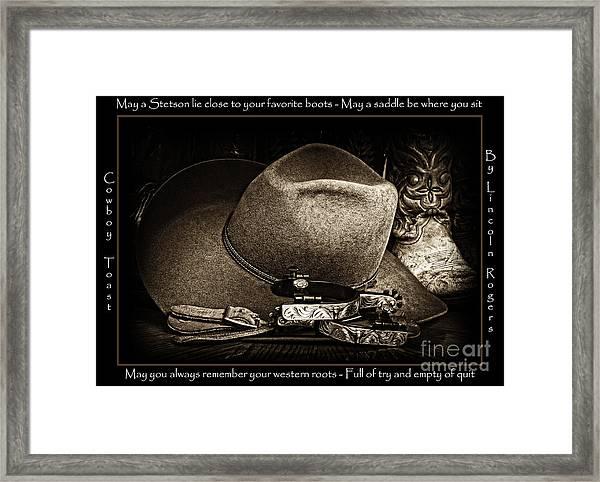 Cowboy Toast Framed Print