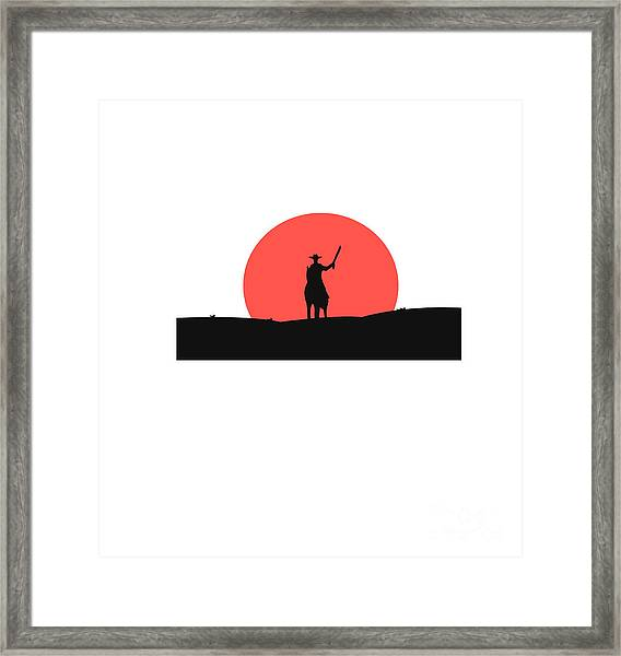 Cowboy With A Gun On A Horse In The Framed Print