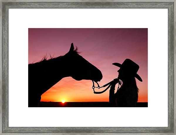 Cowgirl Sunset Framed Print