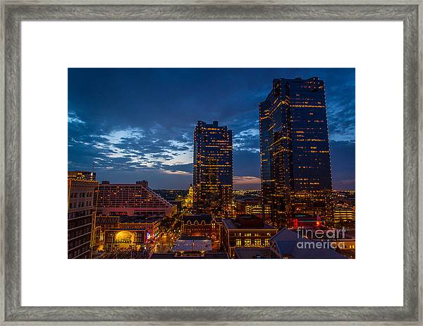 Cowtown At Night Framed Print