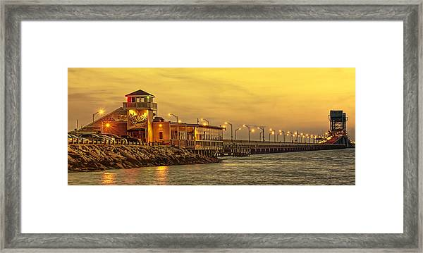 Crab Shack On The James In Amber Glow Framed Print