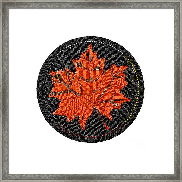 Cradleboard Beadwork Fall Maple Leaf Framed Print