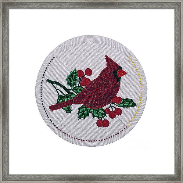 Cradleboard Beadwork Winter Cardinal Framed Print