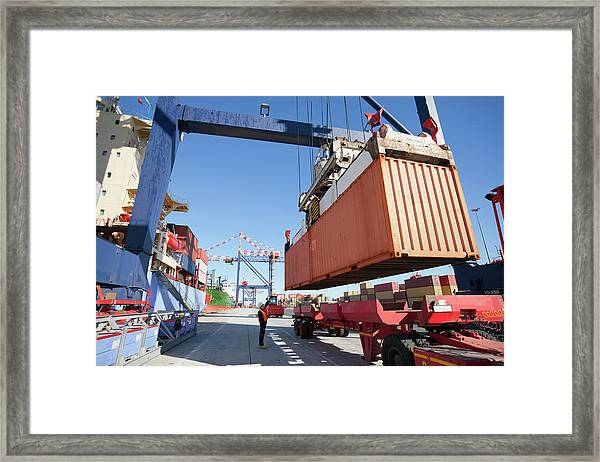 Crane Unloading Container Ship At Framed Print
