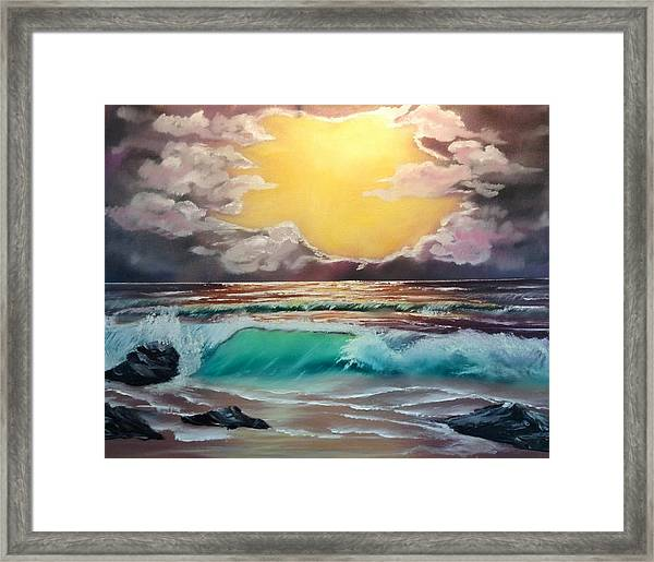 Crashing Wave At Sunrise Framed Print