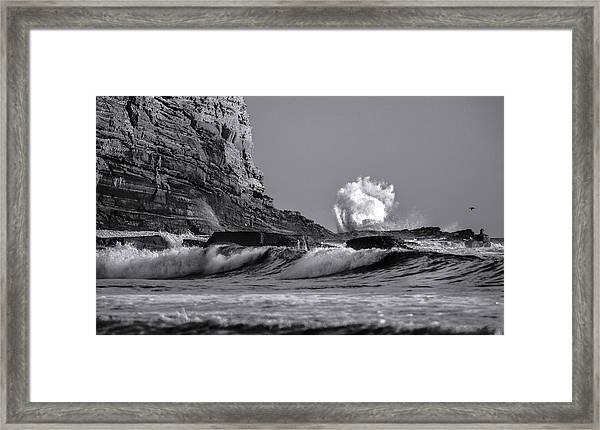 Crashing Waves At Cabrillo By Denise Dube Framed Print