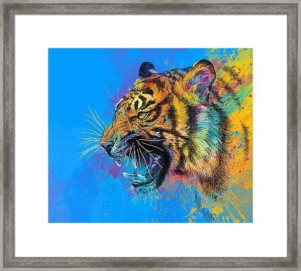 Crazy Tiger Framed Print