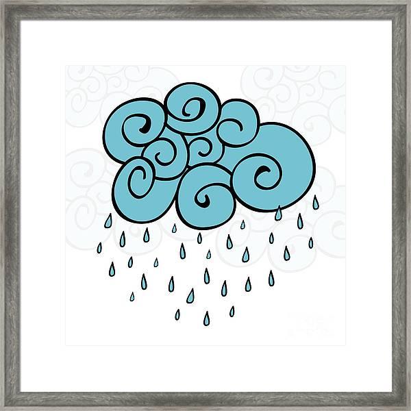 Creative Blue Cloud And Raindrops Framed Print