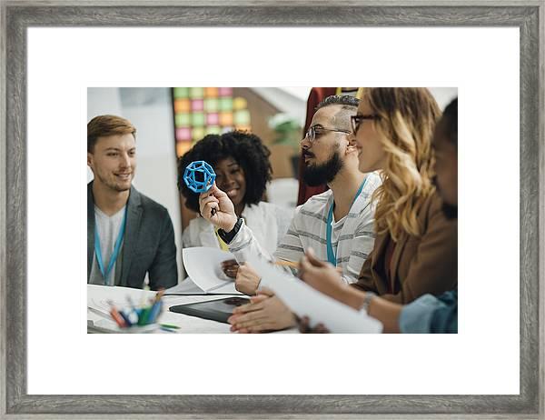 Creative Start-up Business Team Brainstorming. Framed Print by Vgajic