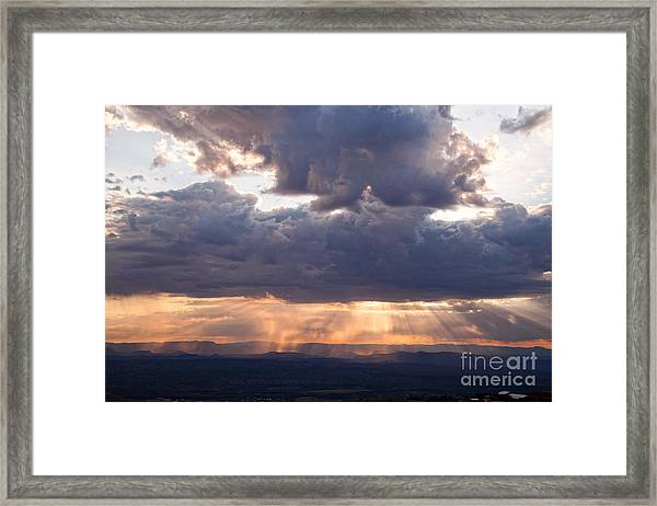 Crepuscular Light Rays Over Sedona From Jerome Arizona Framed Print