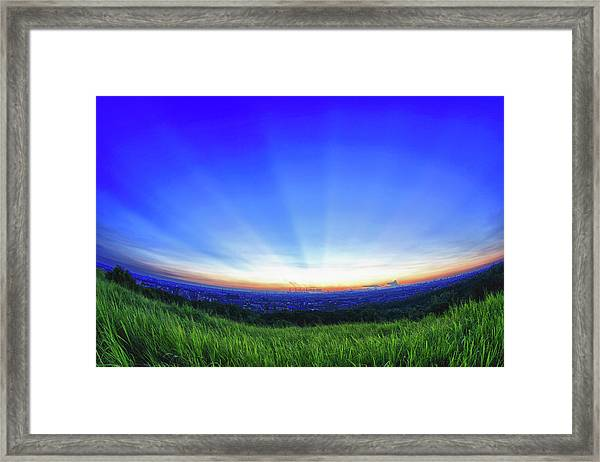 Crepuscular Rays At Western Coast Of Framed Print