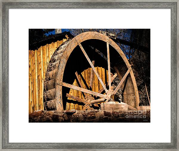 Old Building And Water Wheel Framed Print