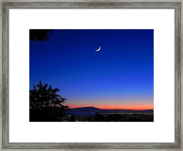 Crescent Moon San Francisco Bay Framed Print