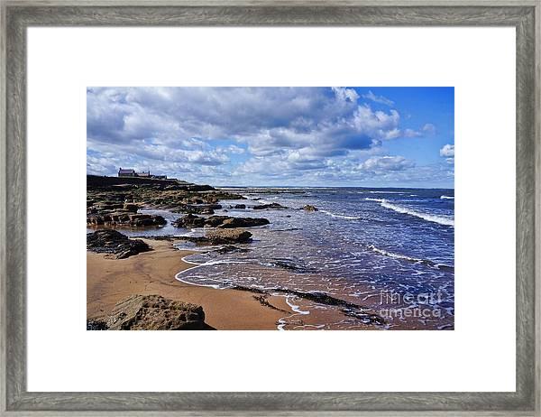 Cresswell Beach And Rocks - Northumberland Coast  Framed Print