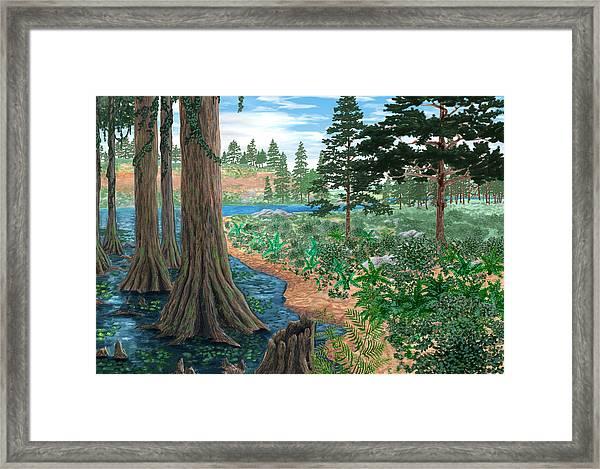 Cretaceous Landscape Framed Print