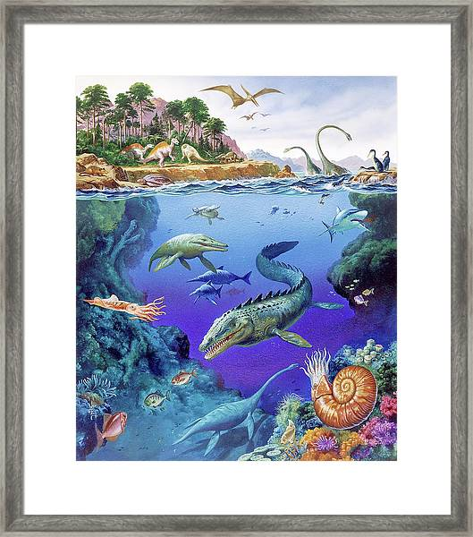 Cretaceous Period Fauna Framed Print by Christian Jegou Publiphoto Diffusion/ Science Photo Library