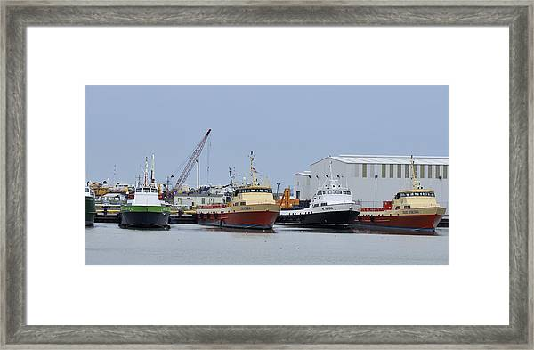 Crew Boats At Port Fourchon Framed Print
