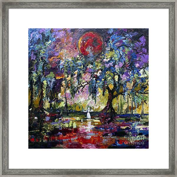 Crimson Moon Over The Garden Of Good And Evil Framed Print