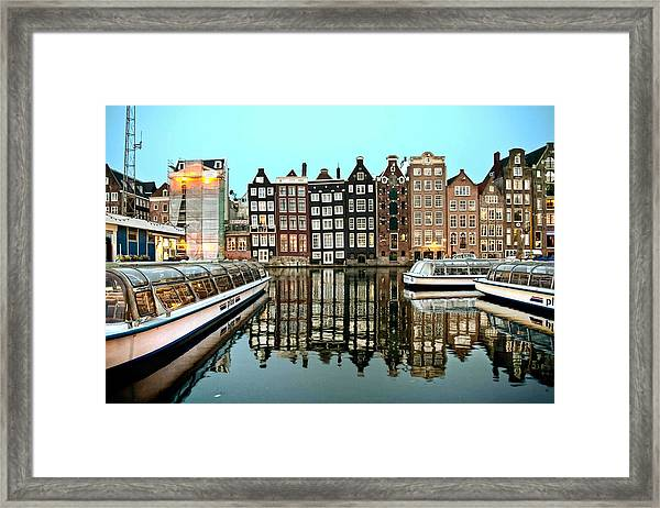 Crooked Houses On The Canal Framed Print