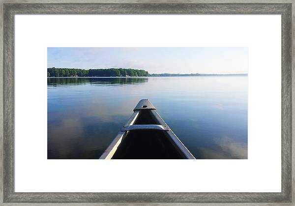 Cropped Image Of Boat Sailing On River Framed Print