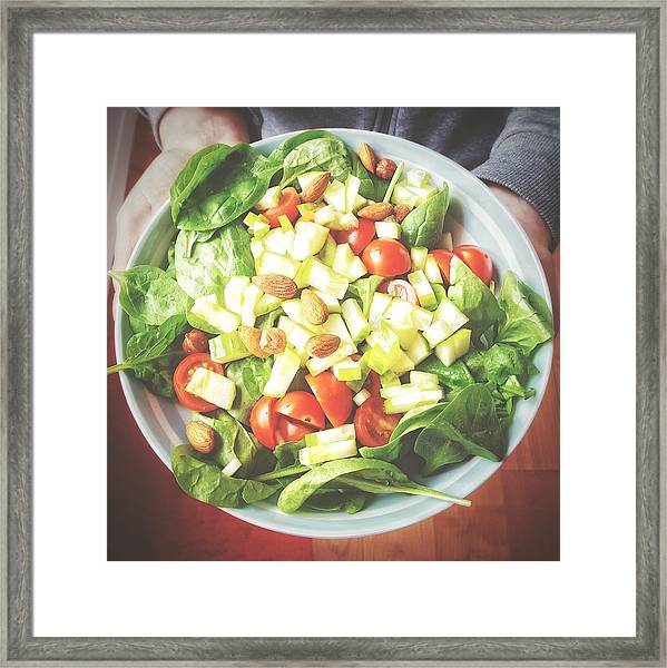 Cropped Image Of Person Holding Salad In Plate Framed Print by Massimiliano Ranauro / EyeEm
