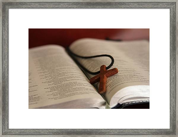 Cross And Bible Framed Print