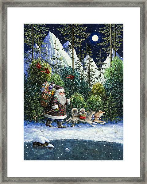 Cross-country Santa Framed Print