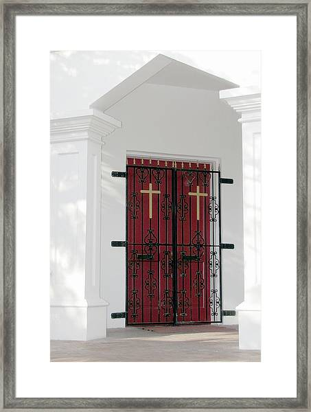 Framed Print featuring the photograph Key West Church Doors by Bob Slitzan