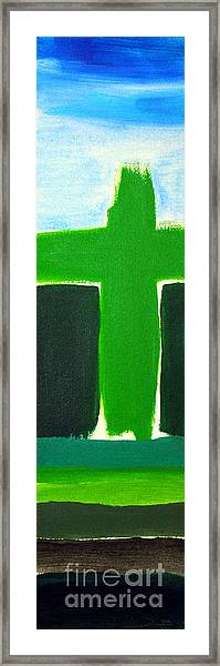 Green Cross On Hill Framed Print