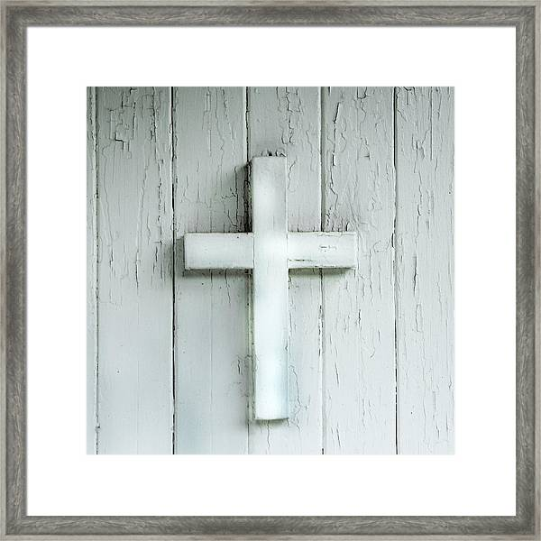 Cross On Holy Angels Sugar Island Michigan Framed Print