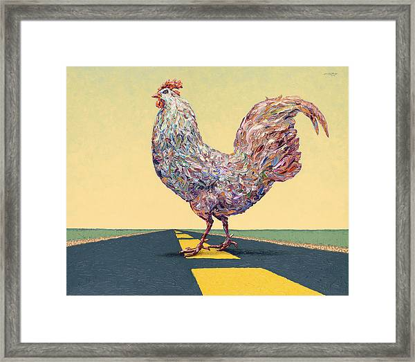 Crossing Chicken Framed Print
