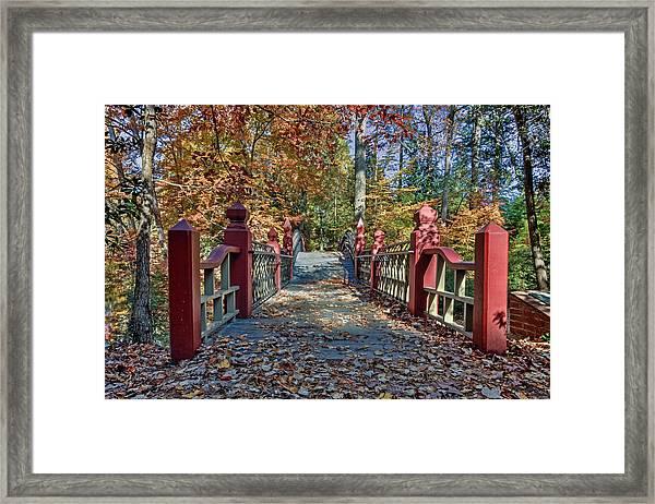 Crossing The Crim Dell Bridge II Framed Print