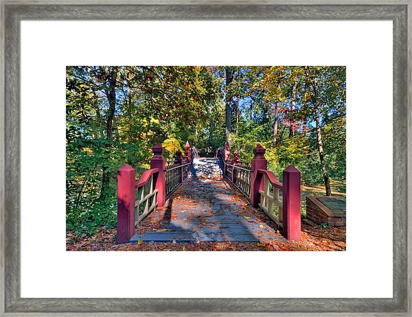 Crossing The Crim Dell Bridge Framed Print