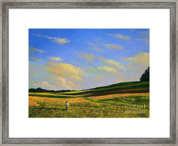 Crossing The Field Framed Print