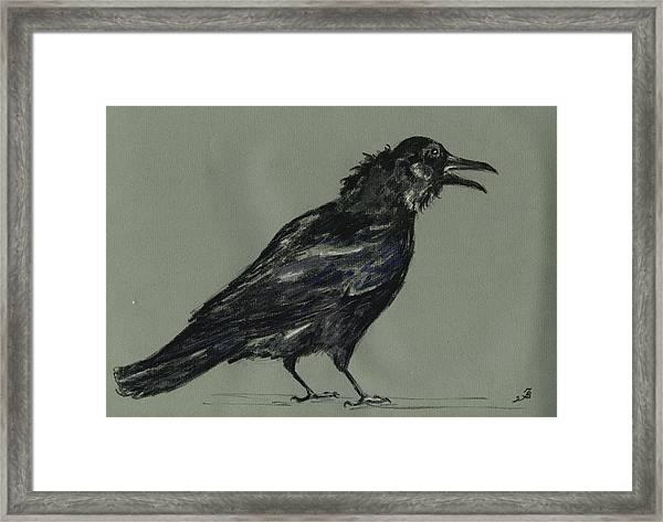 Crow Framed Print by Juan  Bosco