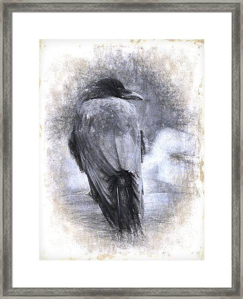 Crow Sketch Painterly Effect Framed Print