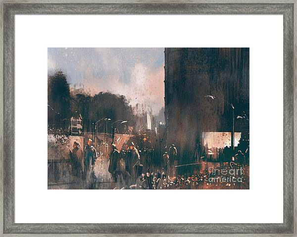 Crowd Of People Walking In The Framed Print