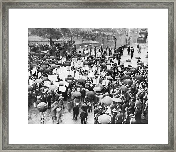 Crowd Protests Bank Failure Framed Print