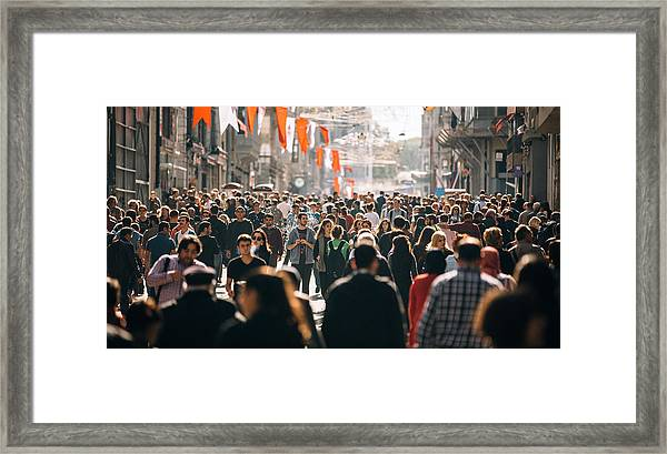 Crowded Istiklal Street In Istanbul Framed Print by Filadendron