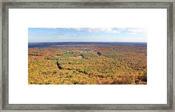 Crowders Mountain Overlook Panorma Framed Print