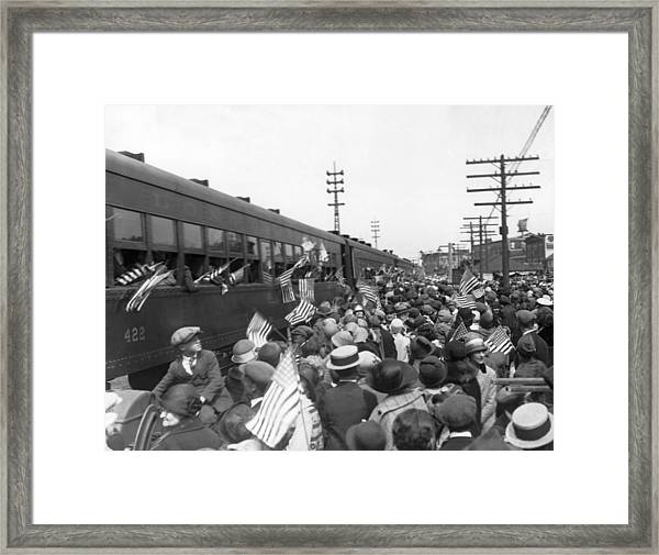 Crowds Cheer Ny Train Service Framed Print