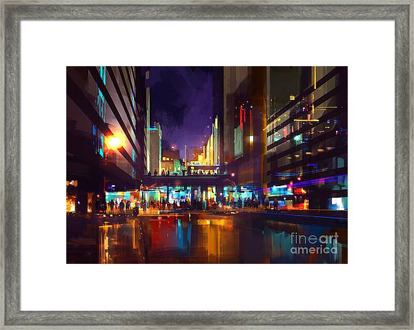 Crowds Of People At A Busy Crossing In Framed Print