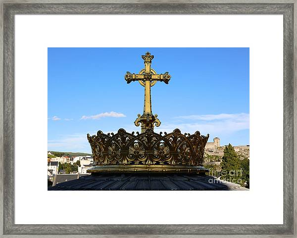 Crown On Dome Of Our Lady Of Lourdes Basilica Framed Print