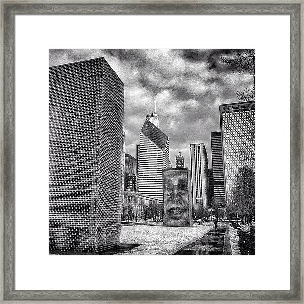 Chicago Crown Fountain Black And White Photo Framed Print