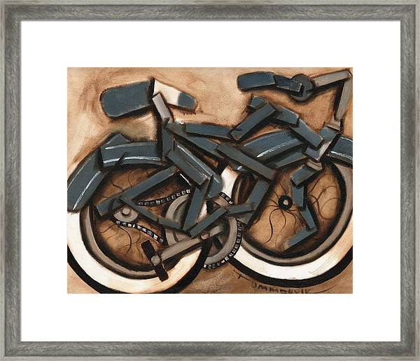 Abstract Blue Cruiser Bicycle Art Print Framed Print
