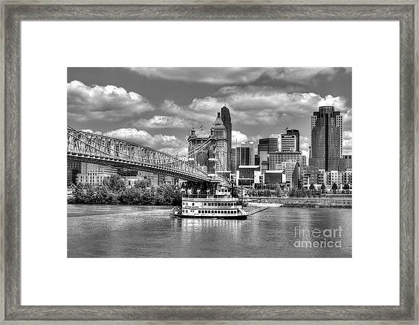 Framed Print featuring the photograph Cruising By Cincinnati 3 Bw by Mel Steinhauer