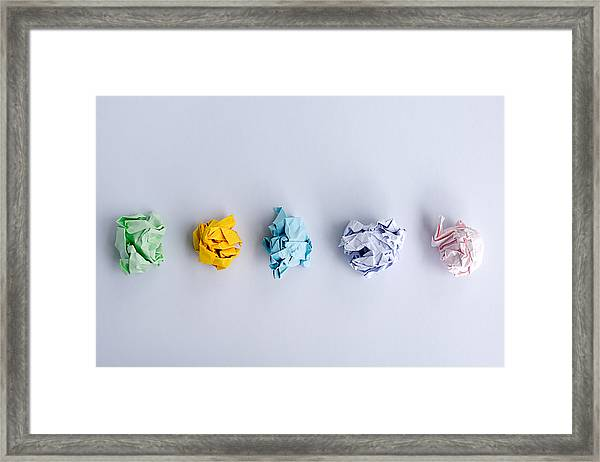 Crumpled Papers Ball Framed Print by Nora Carol Photography