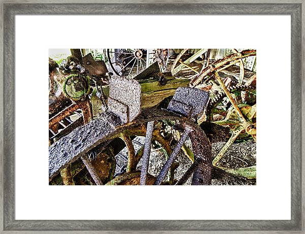Framed Print featuring the photograph Crusty Rusty Tractor Wheels by Robert Rus